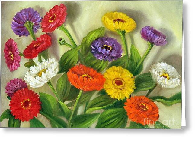 Greeting Card featuring the painting Zinnias by Randol Burns