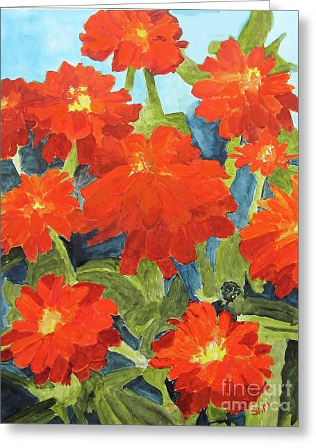Greeting Card featuring the painting Zinnias by Sandy McIntire