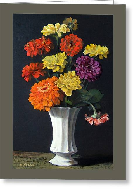 Zinnias Showing Their True Colors In White Vase Greeting Card