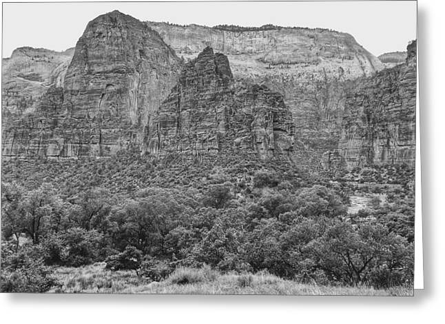 Zion Canyon Monochrome Greeting Card
