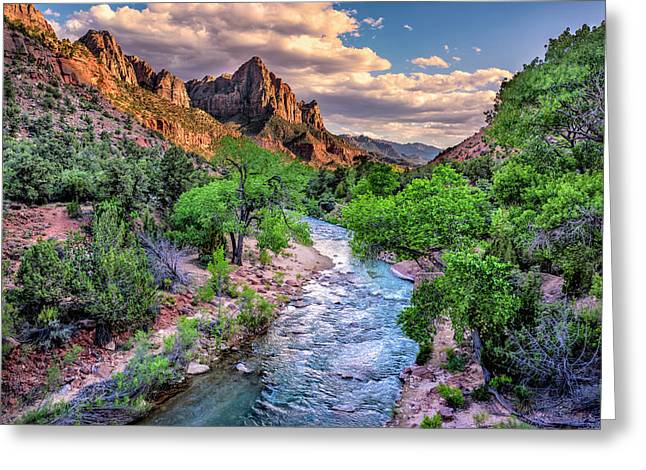 Zion Canyon At Sunset Greeting Card