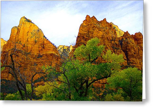 Zion In Autumn Greeting Card by Dennis Hammer