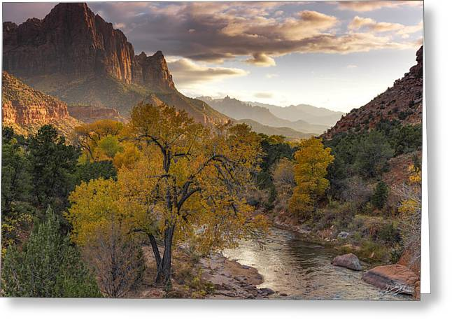Zion National Park Autumn Greeting Card by Leland D Howard