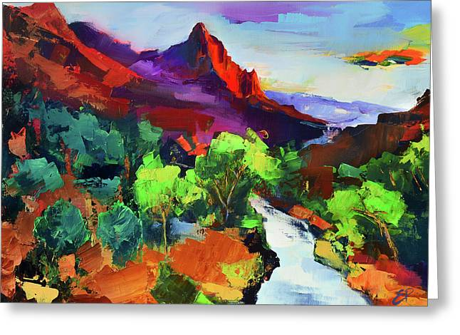 Greeting Card featuring the painting Zion - The Watchman And The Virgin River Vista by Elise Palmigiani