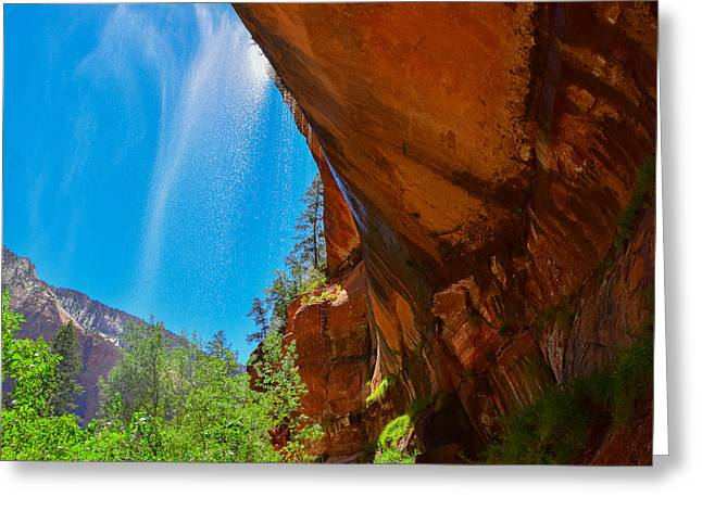 Greeting Card featuring the photograph Zion - Under The Falls by Dany Lison