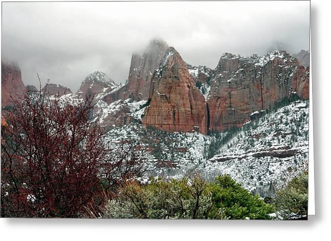 Zion Winter Skyline Greeting Card