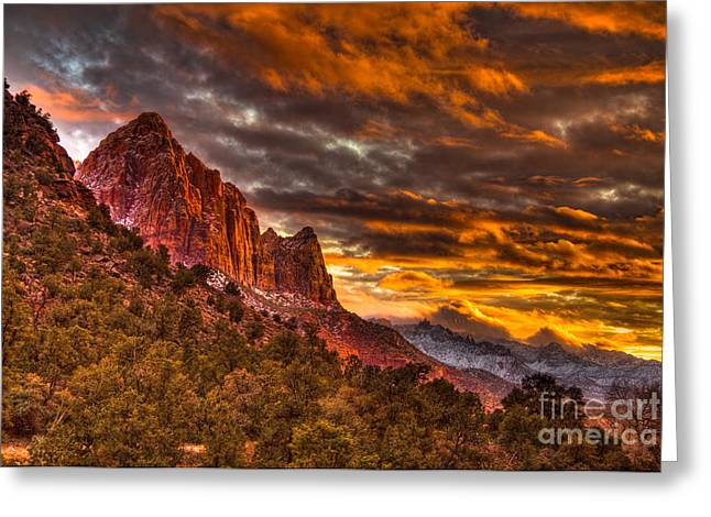 Zion's Fire Iv Greeting Card by Irene Abdou