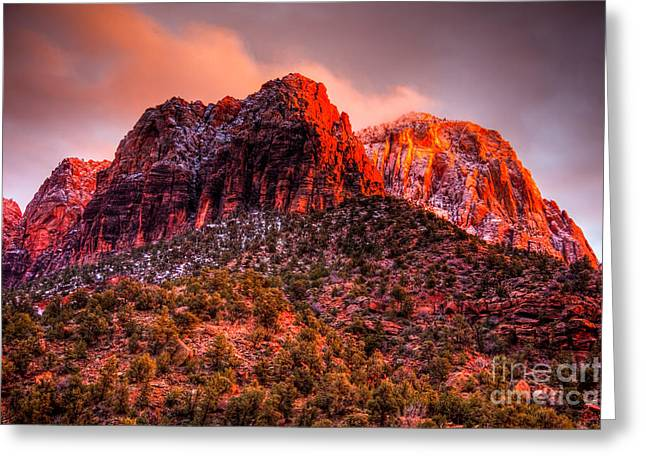 Zion's Fire V Greeting Card by Irene Abdou