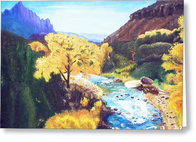 Greeting Card featuring the painting Zion's In Autumn by Sherril Porter