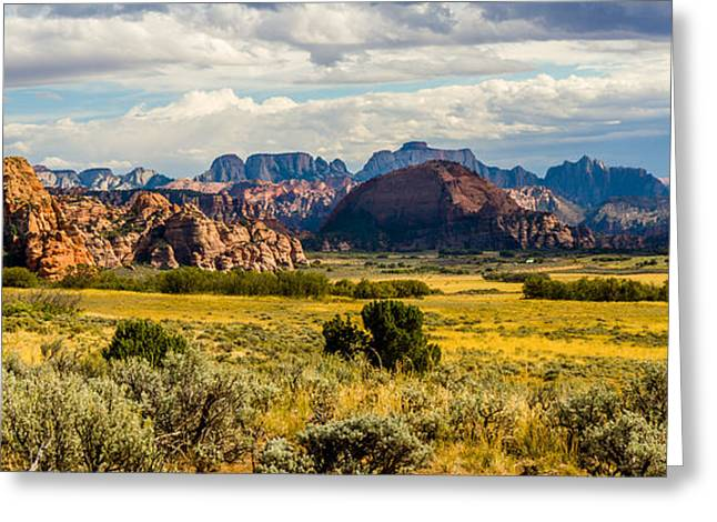 Zion's West Wall From Kolob Terrace Road  Greeting Card