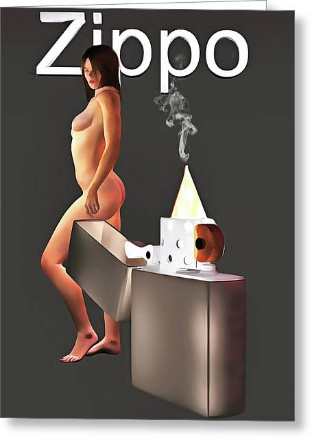 Greeting Card featuring the painting Zippo Flame by Jan Keteleer