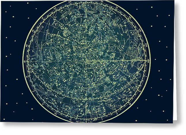 Zodiac Star Map Greeting Card by Marianna Mills