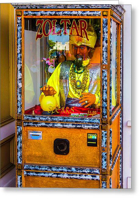 Zoltar Fortune Reader Greeting Card by Garry Gay
