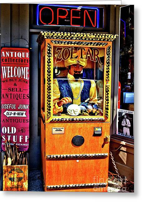 Zoltar... Tells Your Fortune Greeting Card by Lauren Leigh Hunter Fine Art Photography