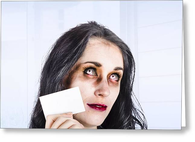 Zombie Business Person Thinking With Business Card Greeting Card by Jorgo Photography - Wall Art Gallery