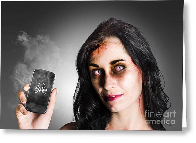 Zombie Business Woman Holding Dead Technology Greeting Card by Jorgo Photography - Wall Art Gallery