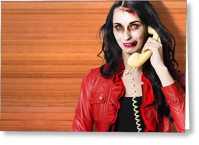 Zombie Call Centre Worker Cold Calling On Phone Greeting Card