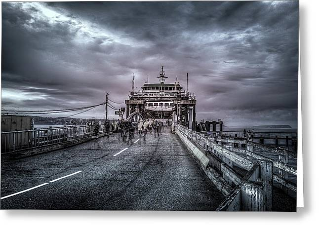Zombie Ferry Ride Greeting Card by Spencer McDonald