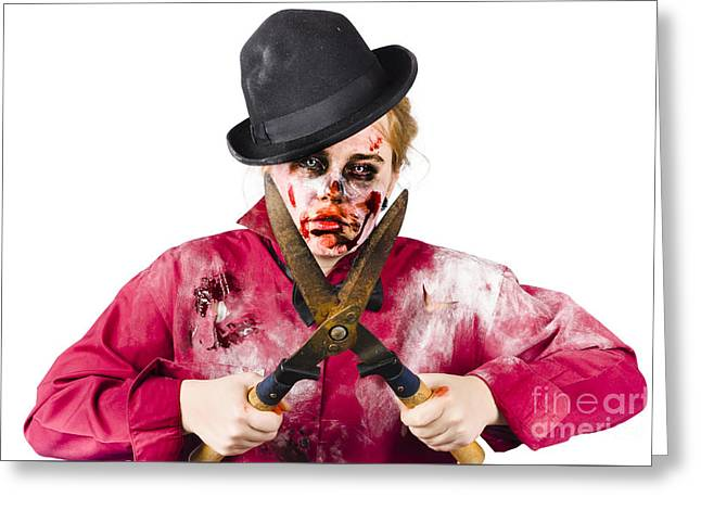 Zombie Gardener With Shears Greeting Card by Jorgo Photography - Wall Art Gallery