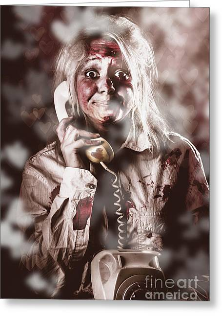 Zombie Girl Making Phone Call To Dead Valentine Greeting Card