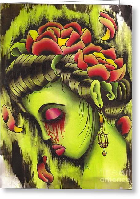 Tattoo Flash Paintings Greeting Cards - Zombie Girl no2 Greeting Card by Lauren B