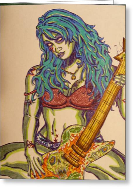 Zombie Guitar Greeting Card by Michael Toth