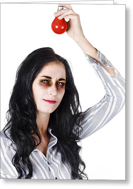 Zombie Holding Warning Light Greeting Card by Jorgo Photography - Wall Art Gallery