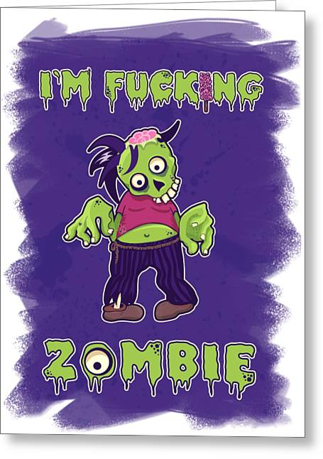 Greeting Card featuring the digital art Zombie by Julia Art
