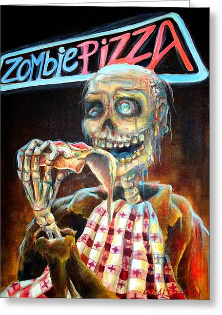 Zombies Greeting Cards - Zombie Pizza Greeting Card by Heather Calderon