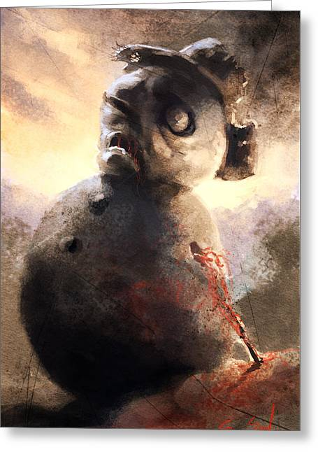 Greeting Card featuring the painting Zombie Snowman by Sean Seal