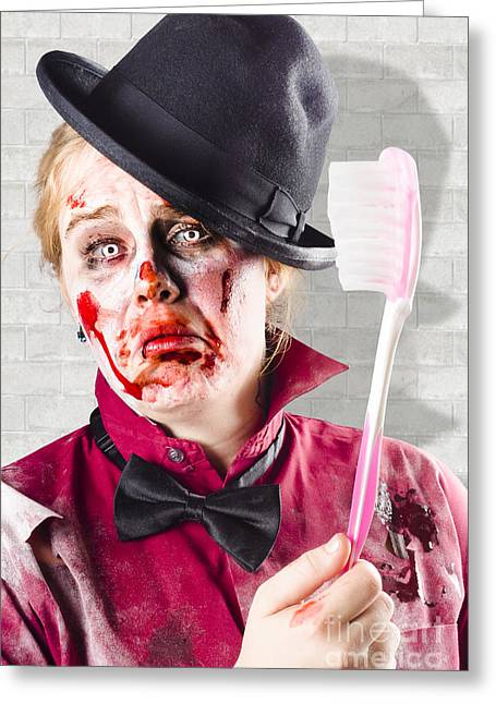 Zombie With Big Toothbrush. Fear Of The Dentist Greeting Card