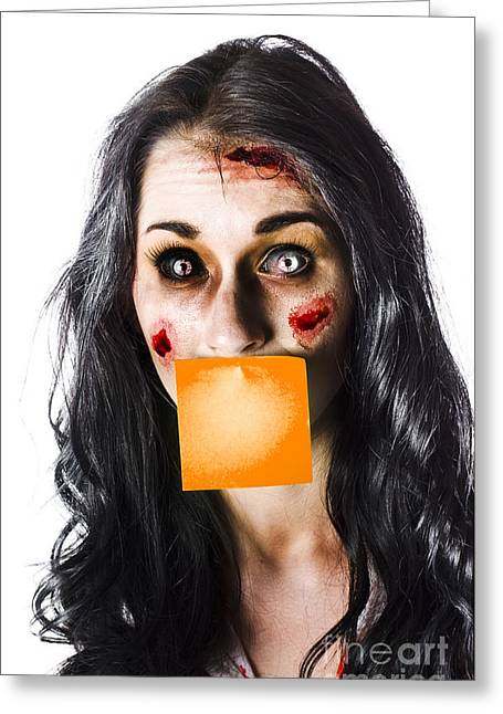 Zombie Woman Crying For Help Greeting Card by Jorgo Photography - Wall Art Gallery