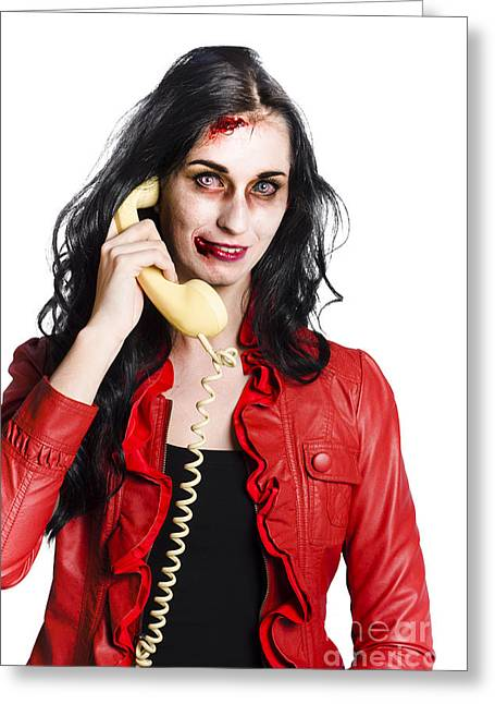 Zombie Woman On Telephone Greeting Card