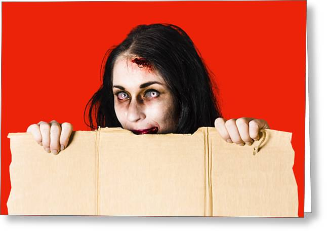 Zombie Woman Peering Out Cardboard Box Greeting Card