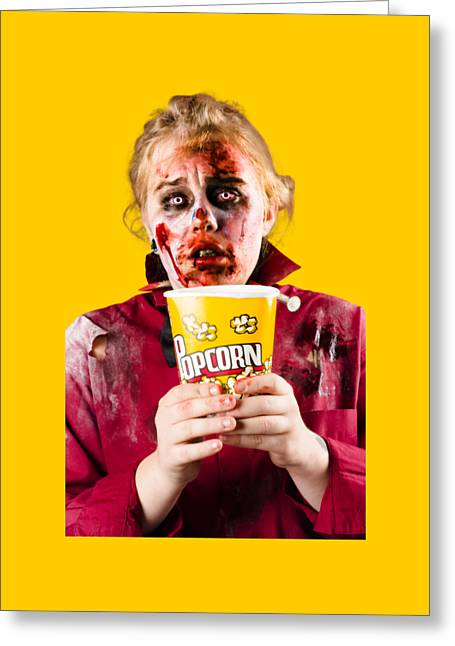 Zombie Woman Watching Scary Movie With Popcorn Greeting Card by Jorgo Photography - Wall Art Gallery