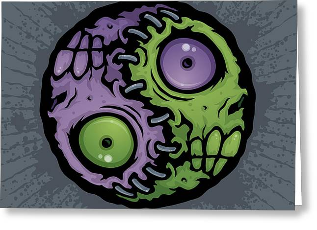 Spooky Greeting Cards - Zombie Yin-Yang Greeting Card by John Schwegel
