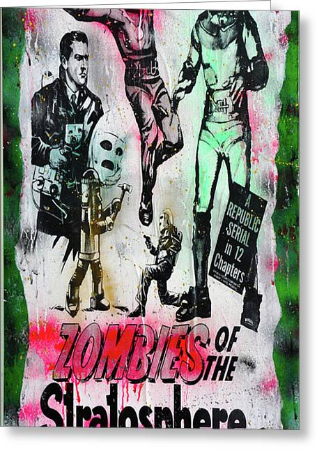 Zombies Of The Stratosphere Greeting Card by Jd Kline