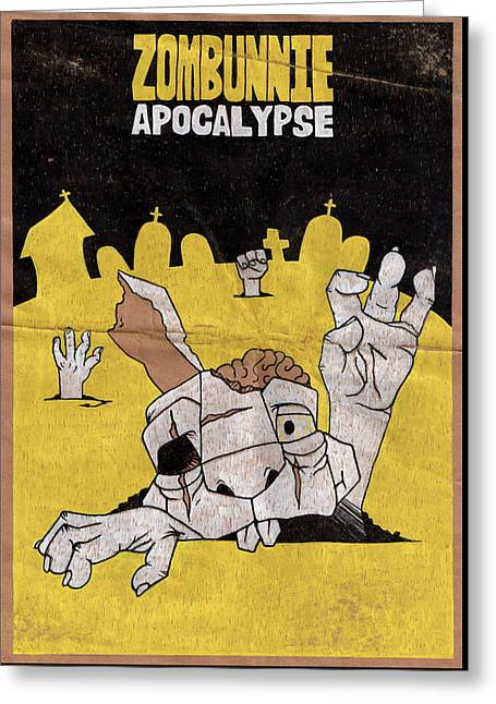 Zombunnie Apocalypse Greeting Card by Bizarre Bunny