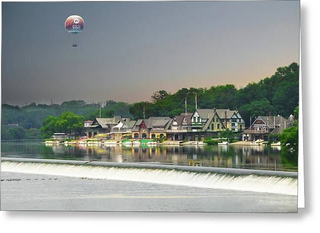 Zoo Balloon Flying Over Boathouse Row Greeting Card by Bill Cannon