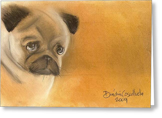 Zooey The Pug Greeting Card by Dindin Coscolluela