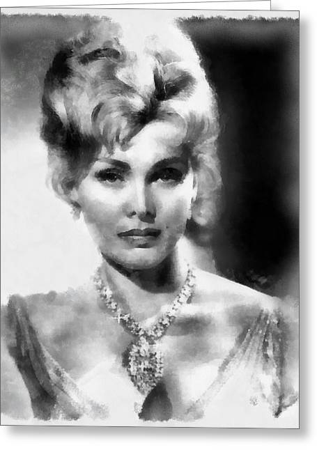 Zsa Zsa Gabor By John Springfield Greeting Card by John Springfield