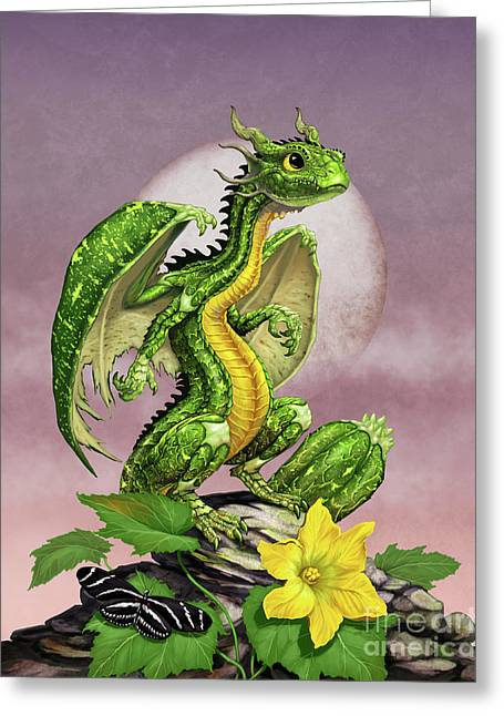 Zucchini Dragon Greeting Card by Stanley Morrison