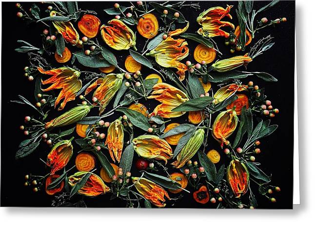 Zucchini Flower Patterns Greeting Card