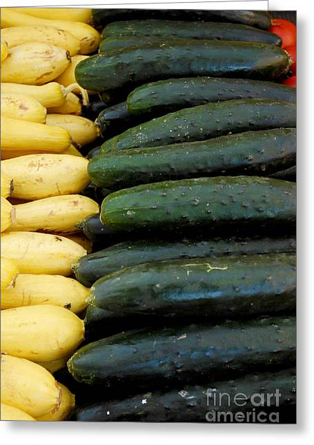 Zucchini On Display At Farmers Market 3 Greeting Card by Micah May