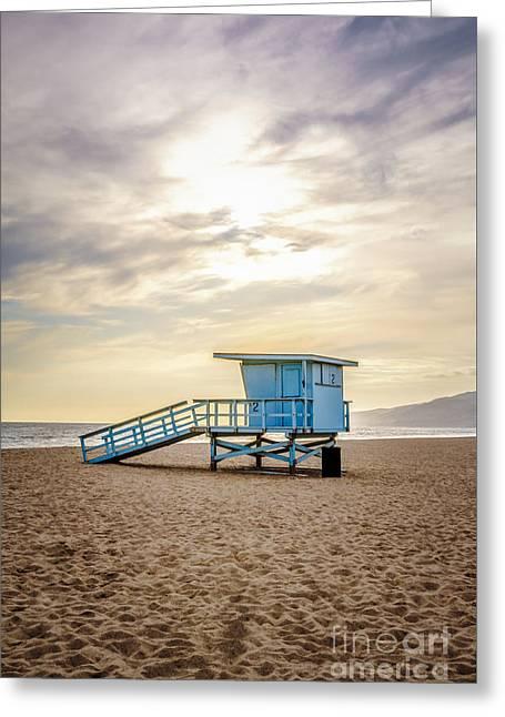 Zuma Beach Lifeguard Tower #2 Malibu Sunset Greeting Card by Paul Velgos