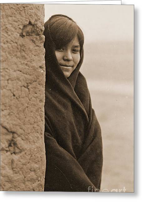 Zuni Girl Smiles Greeting Card