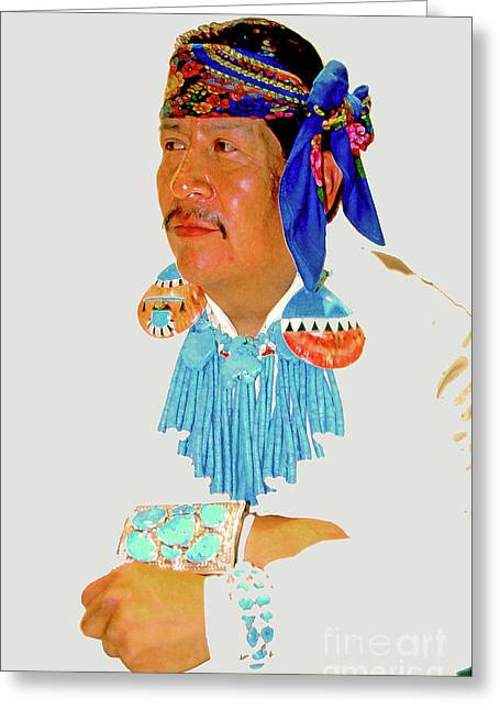 Zuni Indian Greeting Card by Linda  Parker