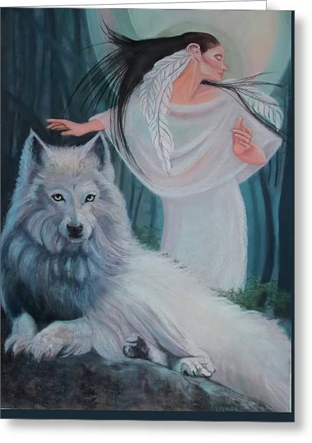 Zuni Maiden With Her White Wolf Greeting Card