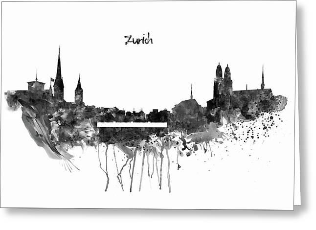 Zurich Black And White Skyline Greeting Card by Marian Voicu