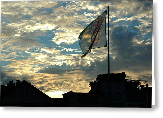 Zurich Griffin Flag At Sunset Greeting Card by Ginger Wakem